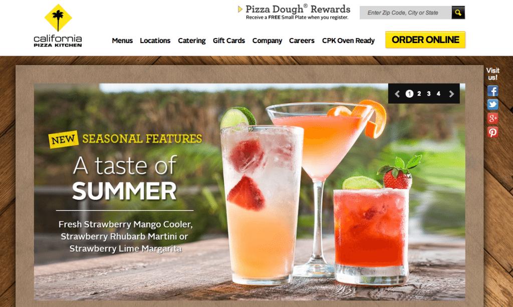 california pizza kitchen homepage