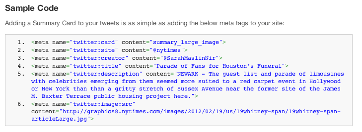 Twitter sample summary code