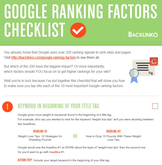 ranking factors checklist