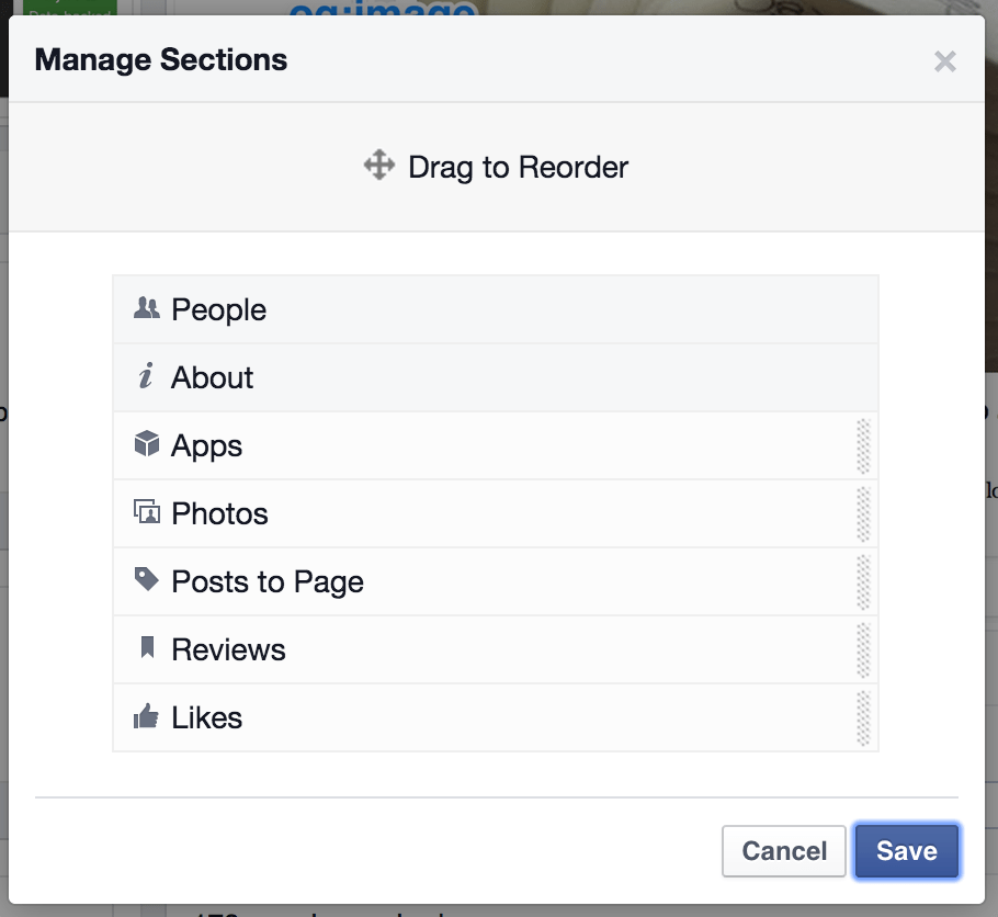 facebook reorder page