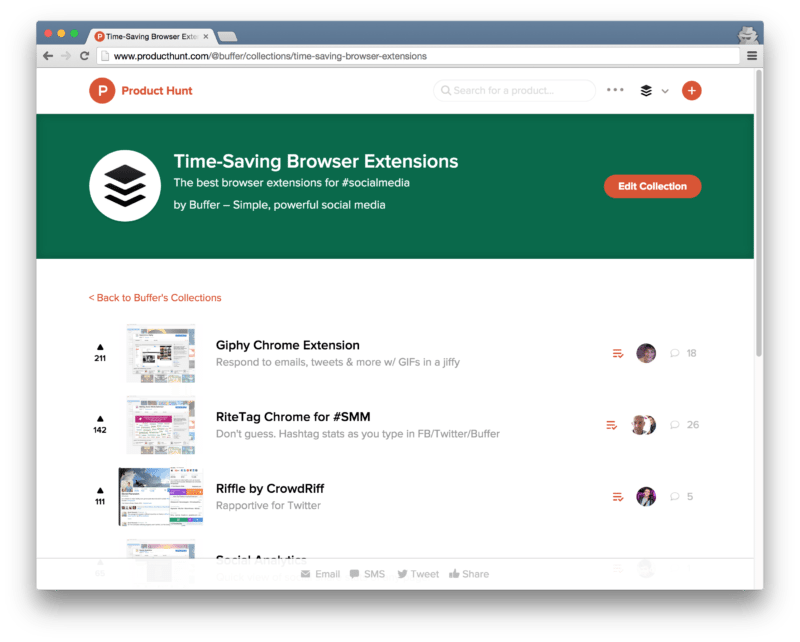 Product Hunt collection - browser extensions