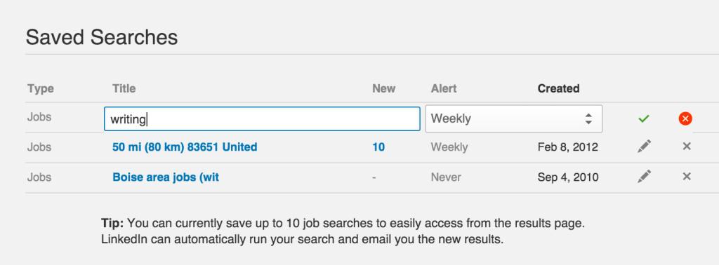 saved searches linkedin