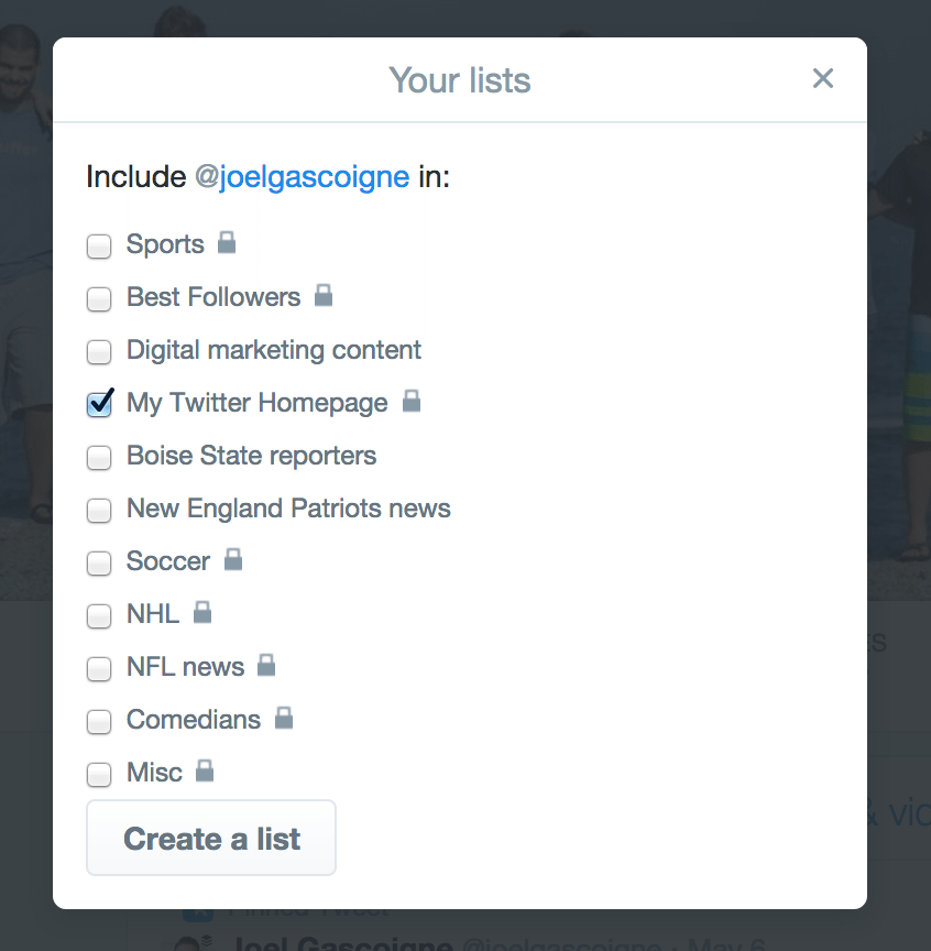 choose twitter lists