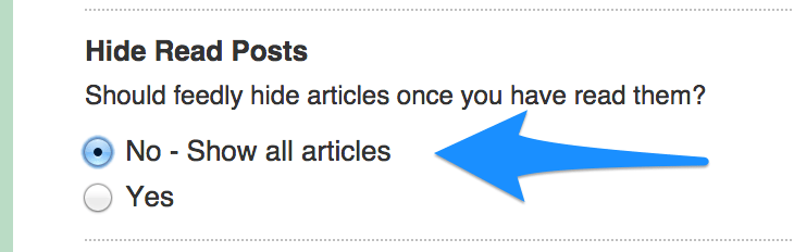 feedly hid read posts