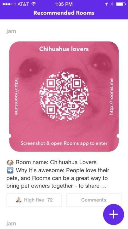 Facebook rooms entry QR code