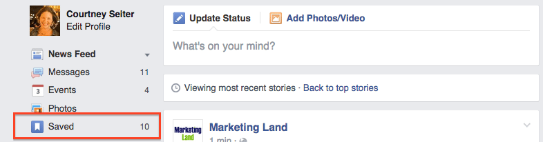 where to find saved posts on Facebook