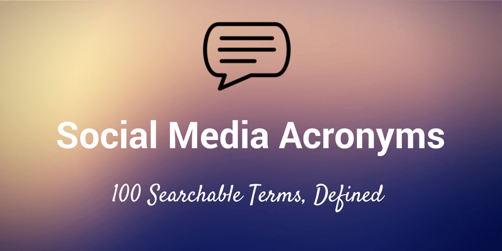 social media acronyms abbreviations