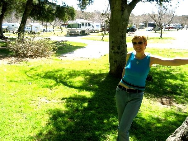Mari built her business from an RV! Here she is at the RV park