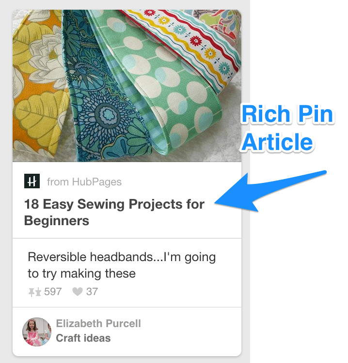 pinterest rich pin article