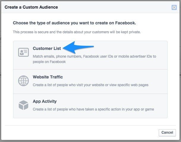 18 customer list facebook