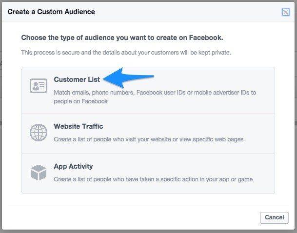 18 customer list facebook