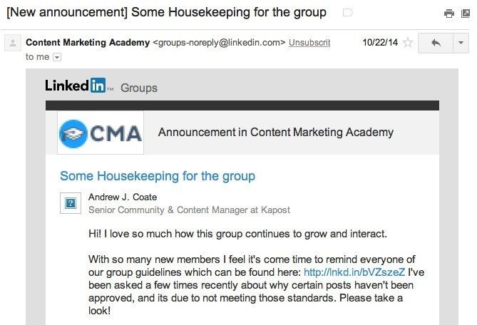 27 linkedin group announcements