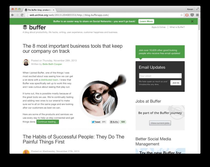 The Buffer blog, circa December 2013