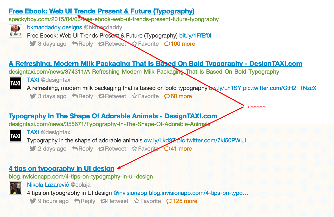 Topsy results for typography