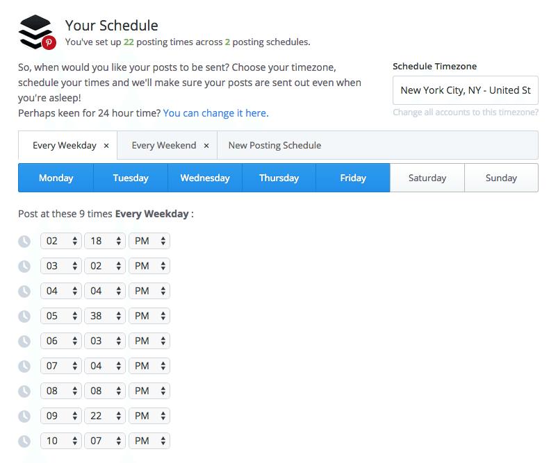 set Pinterest schedule