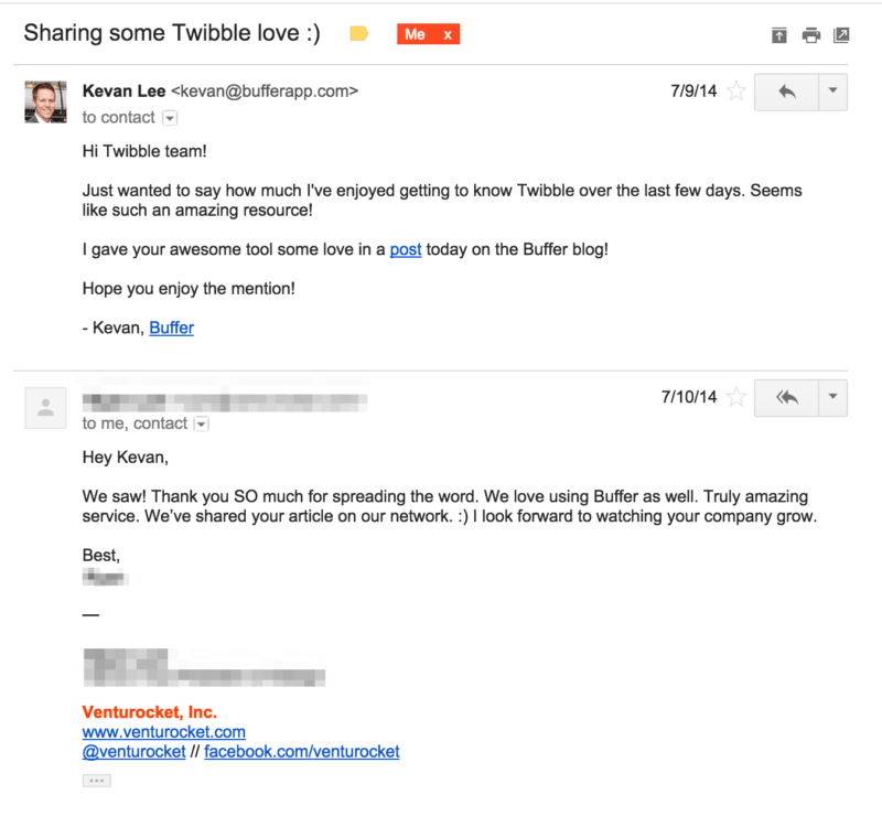 Sample outreach email