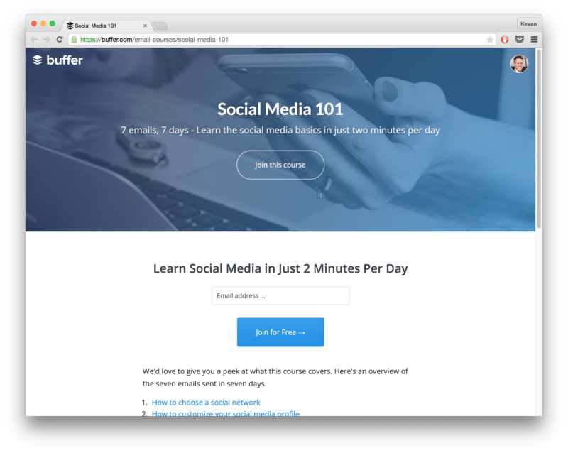 Buffer email courses - Social Media 101