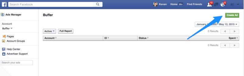 Facebook Ads create ad button