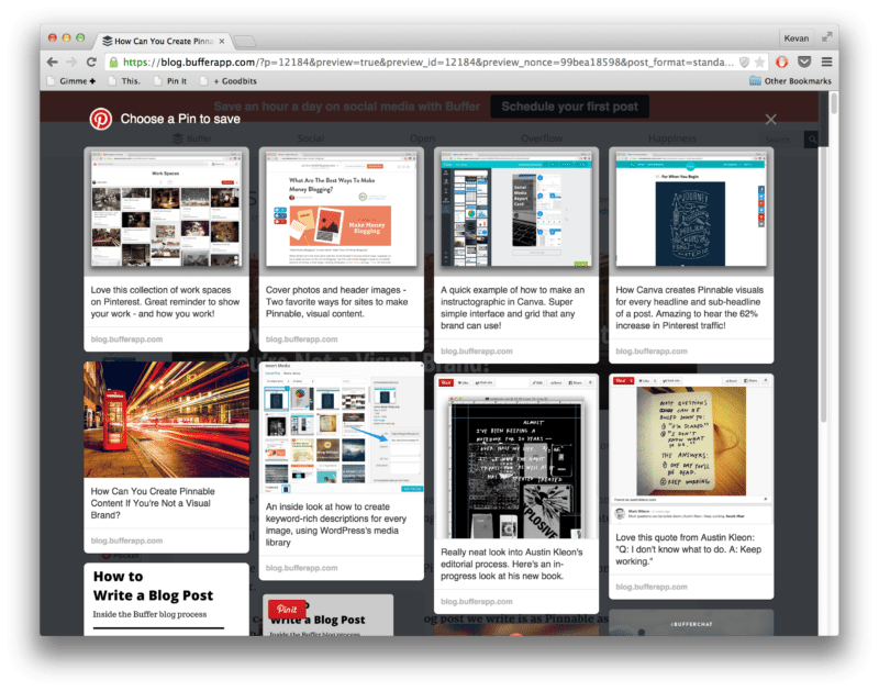 A peek into the Pinnable images of a Pinterest-optimized blog post