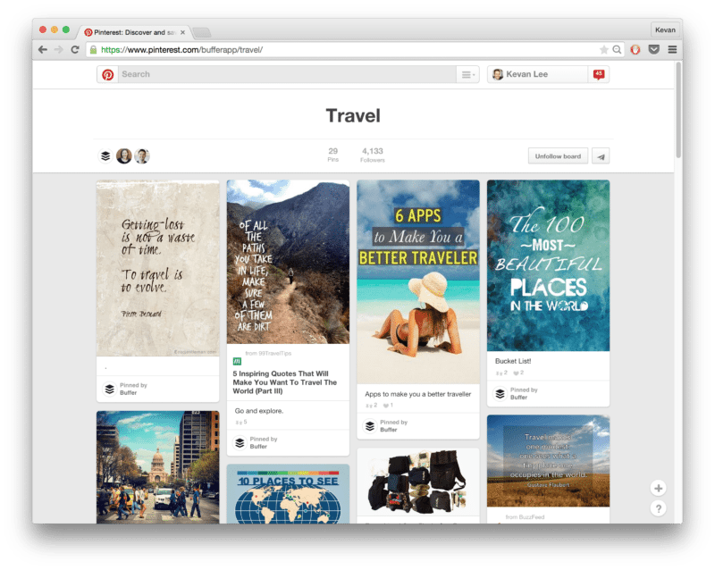 buffer travel Pinterest board