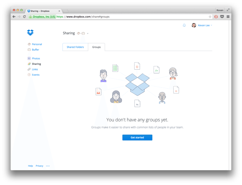 Dropbox share to groups