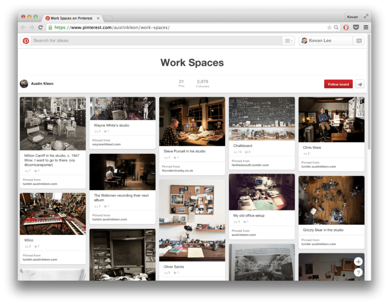 Love this collection of work spaces on Pinterest. Great reminder to show your work - and how you work!