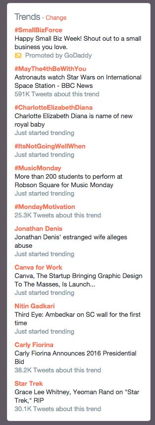 Twitter trending topics example