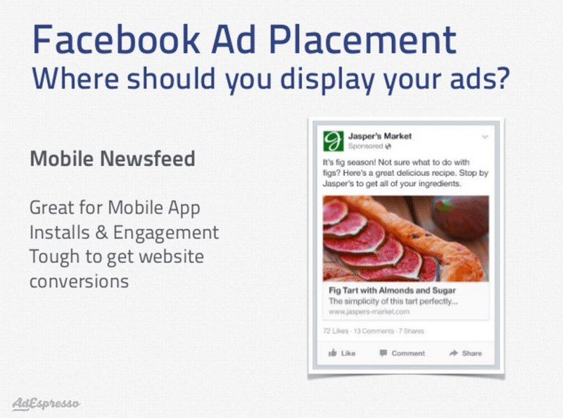 Facebook mobile news feed ads