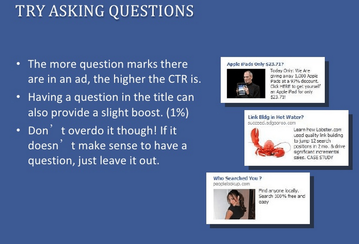 Question Marks in social media ads