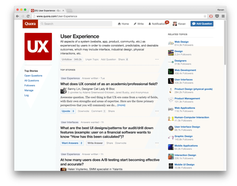 Quora topic - User Experience