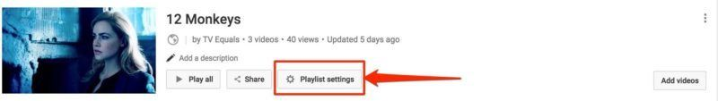 YouTube Playlist Settings