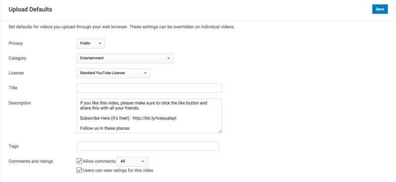 YouTube Upload Defaults