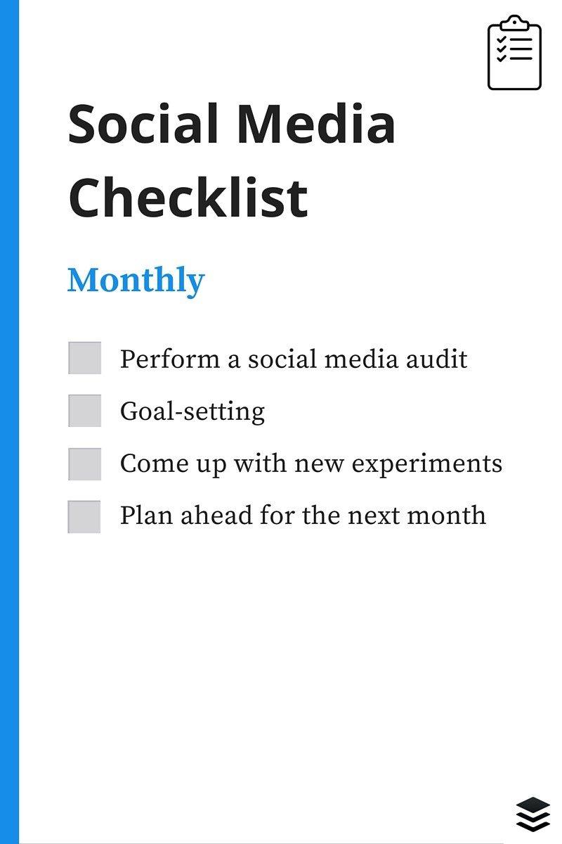monthly social media checklist
