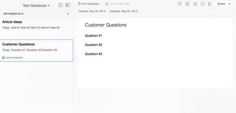 Evernote ideas questions