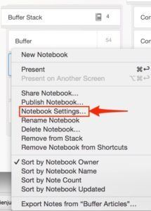 Evernote notebook settings