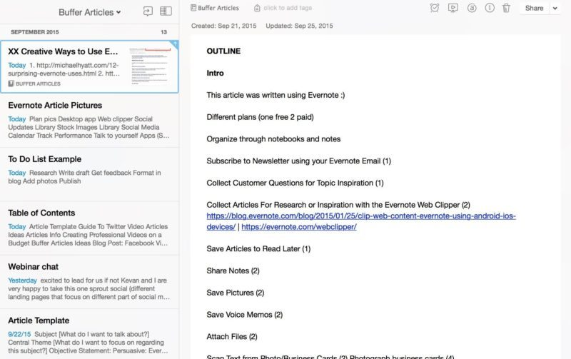 Evernote write articles 2