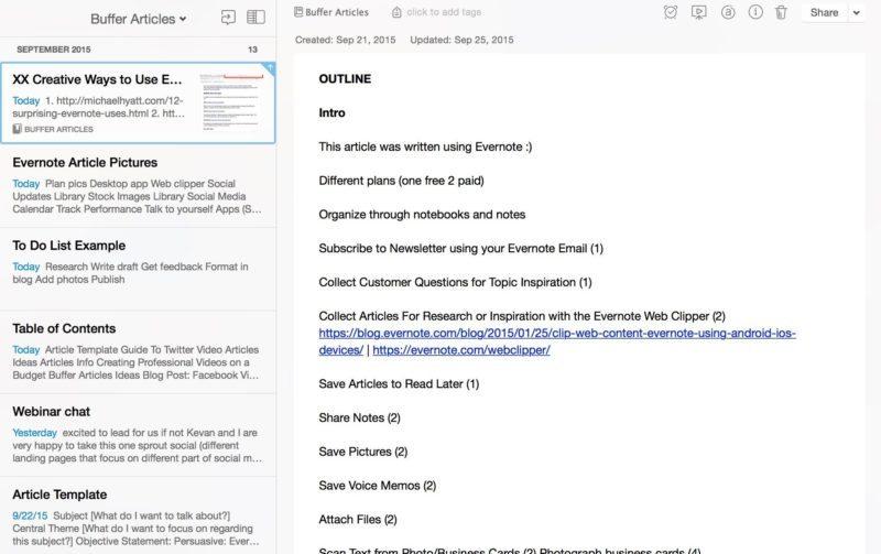 Evernote write articles 2