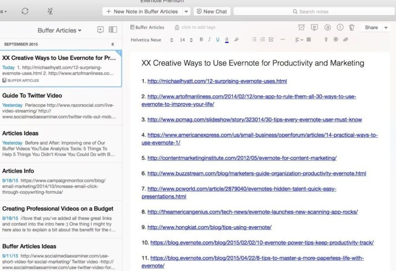 Evernote write articles