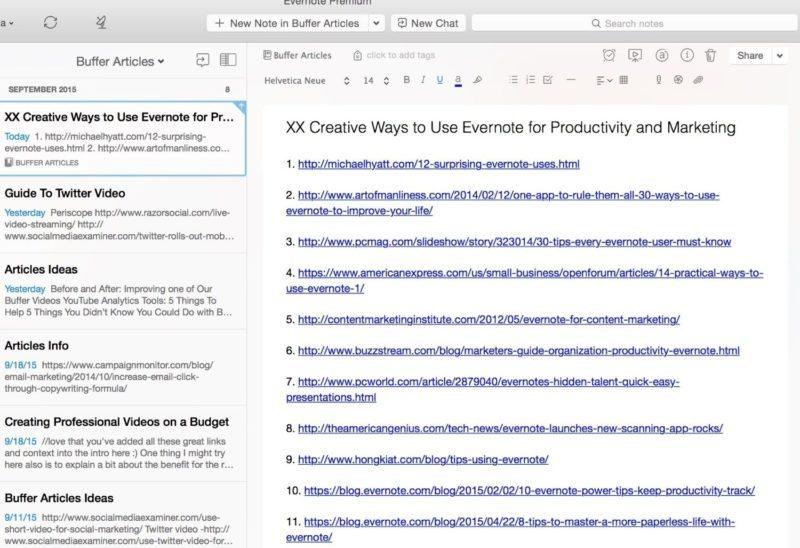 Evernote write articles