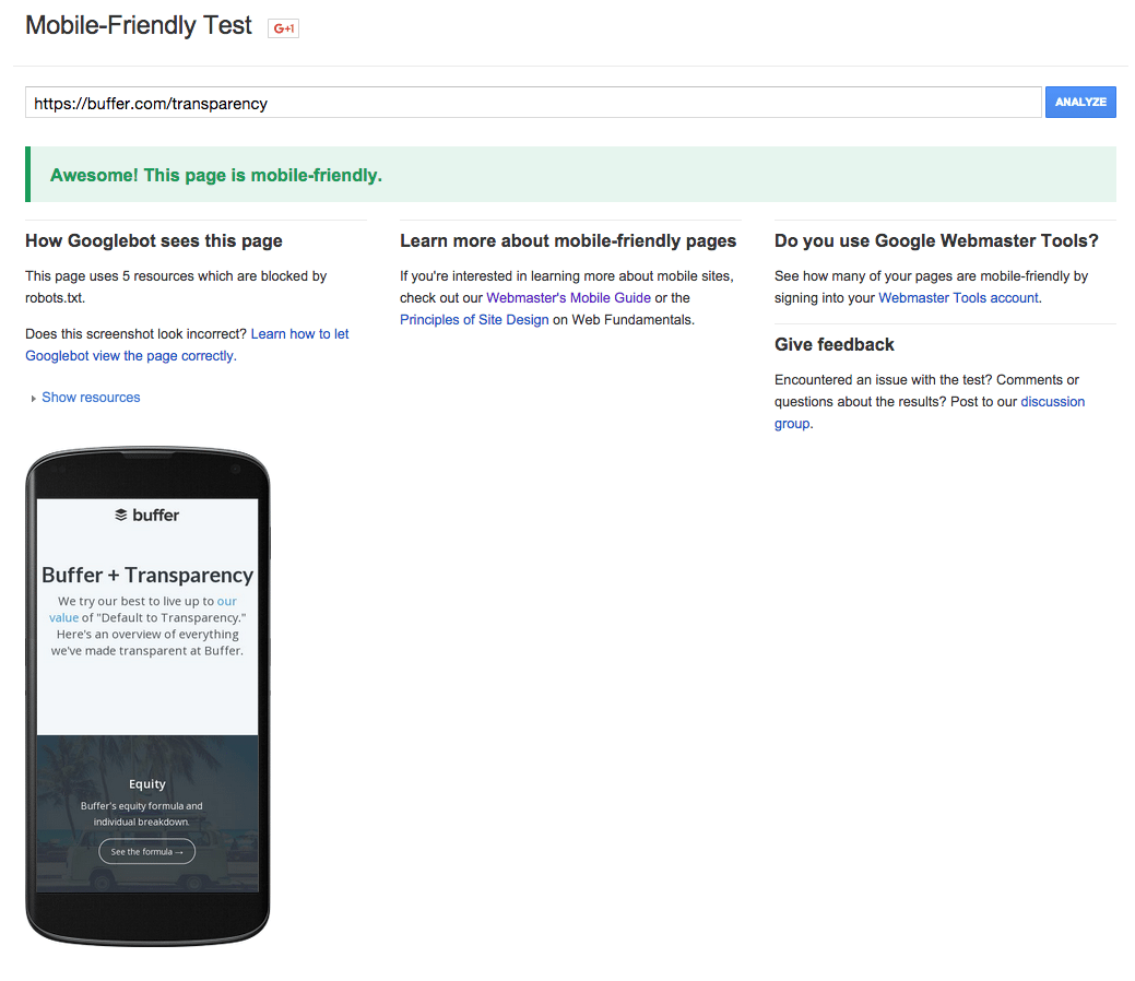 Google mobile readiness