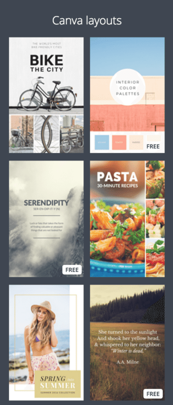 Canva layouts for Pinterest