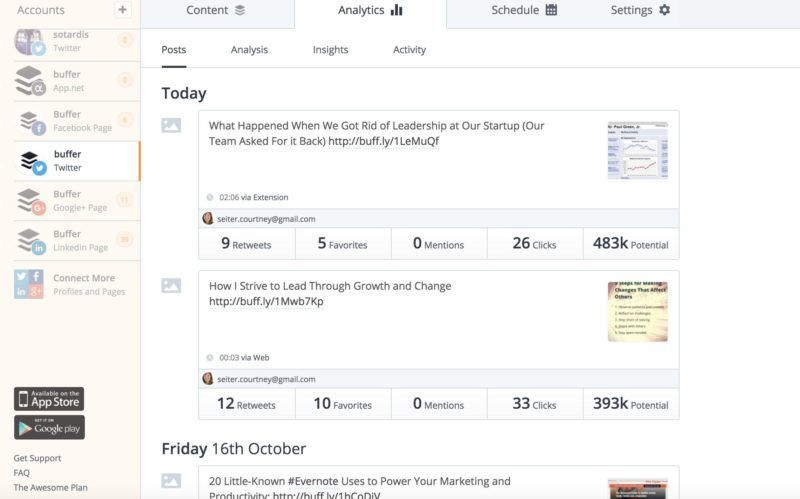 buffer analytics social media schedule