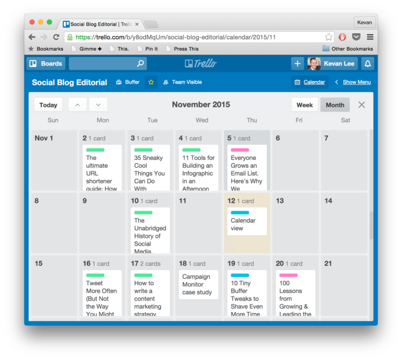 Editorial calendar in Trello
