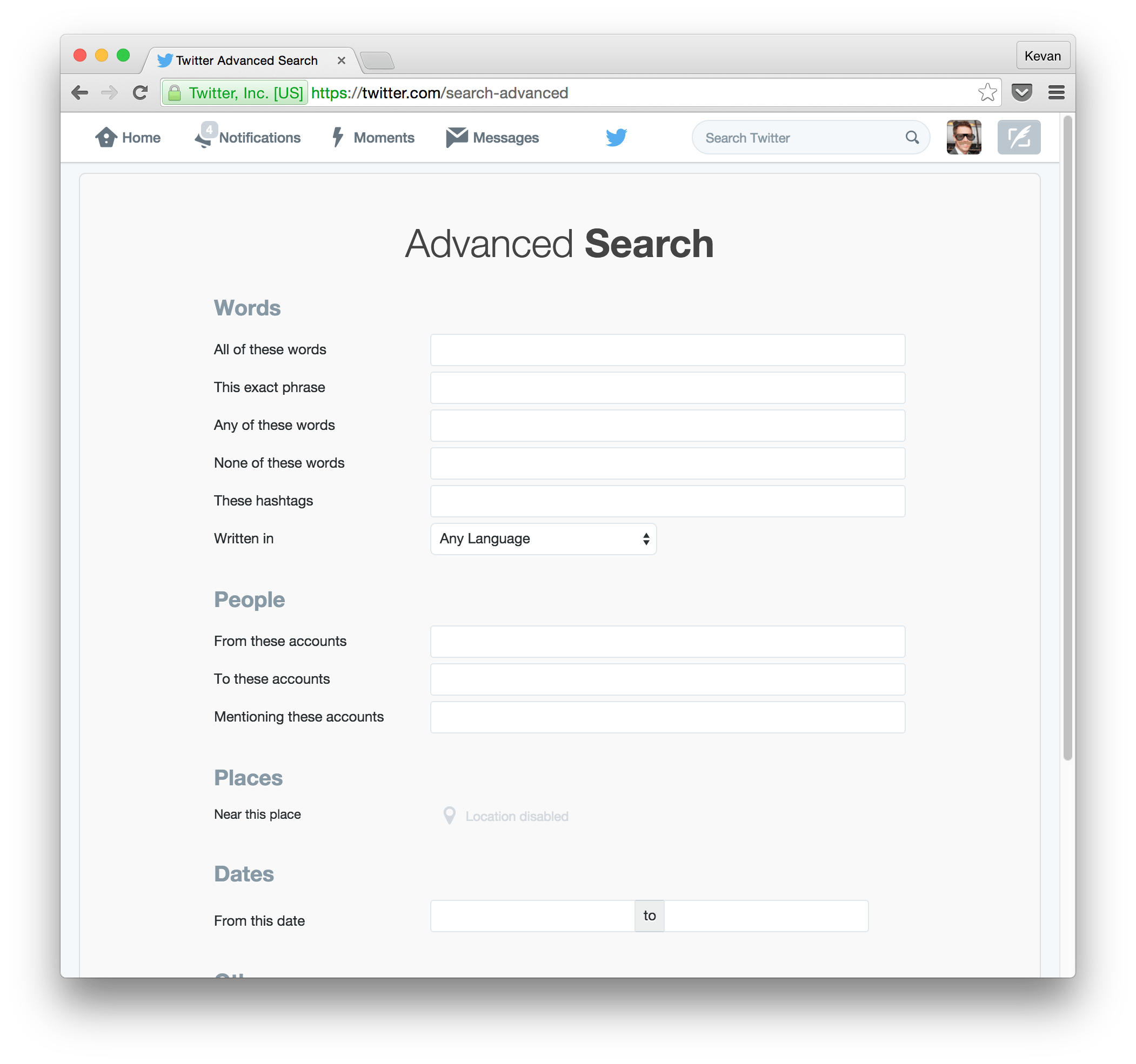 Twitter Advanced Search