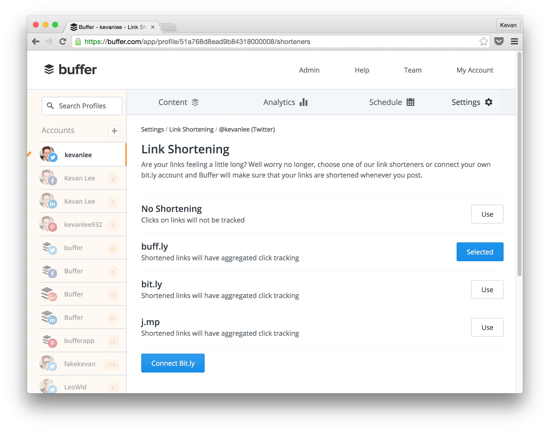 buffer link shorteners