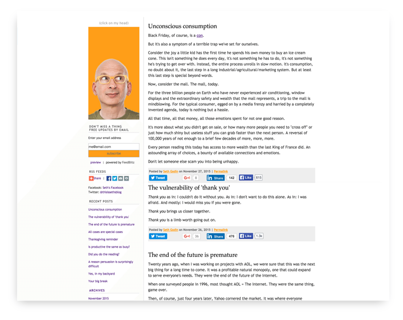 Seth Godin website