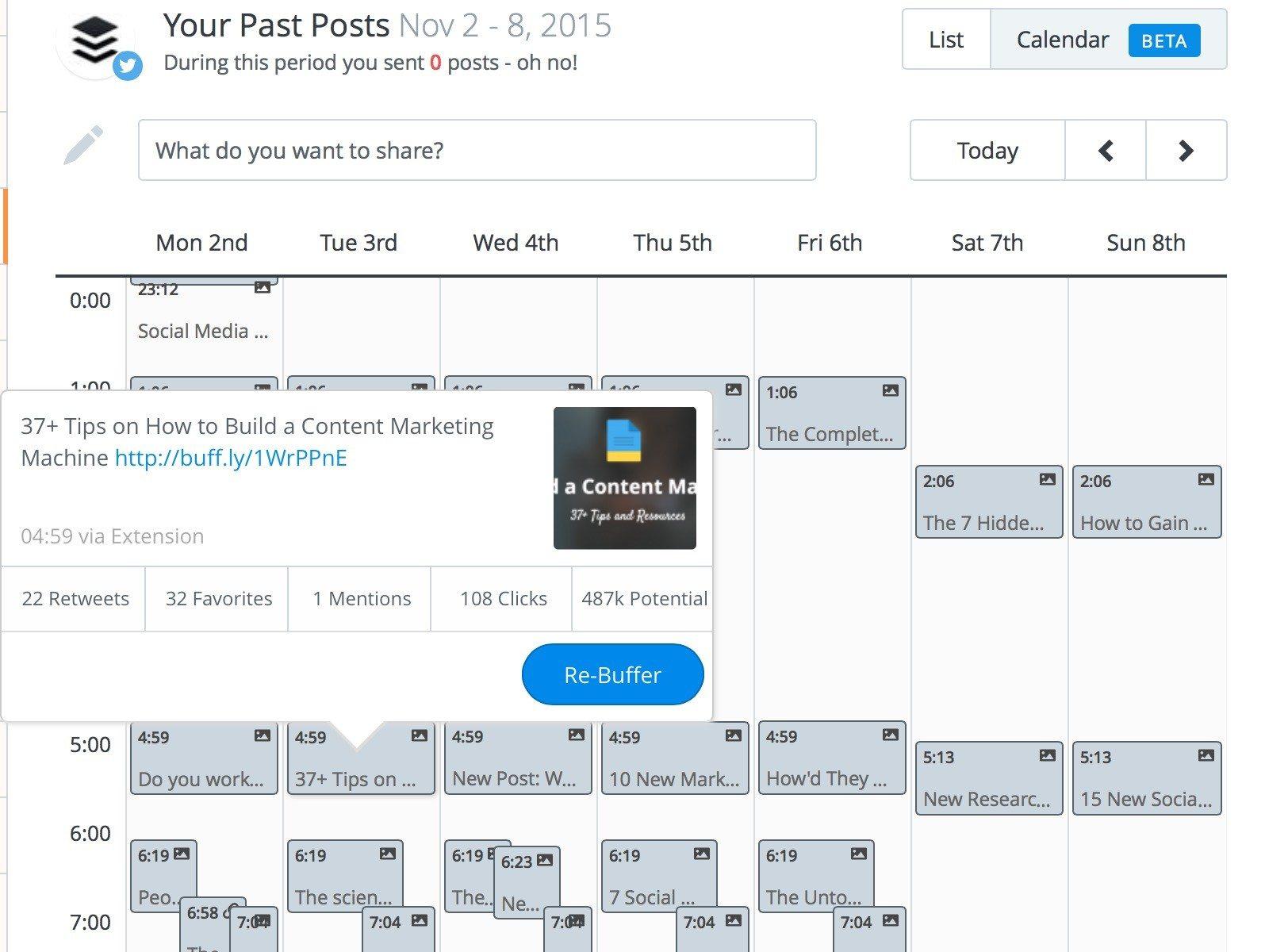 social media calendar past posts