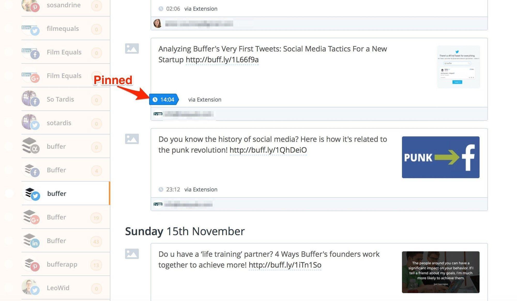 social media calendar pinned queue