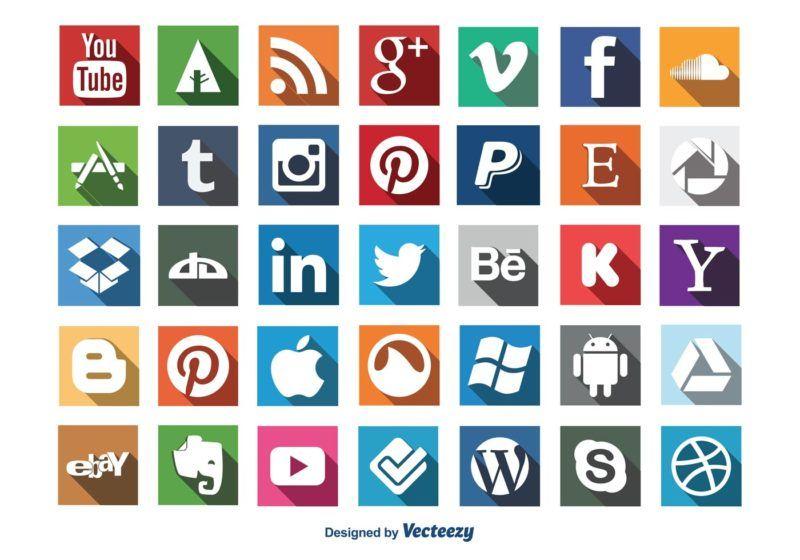 vector-social-media-long-shadow-icon-set