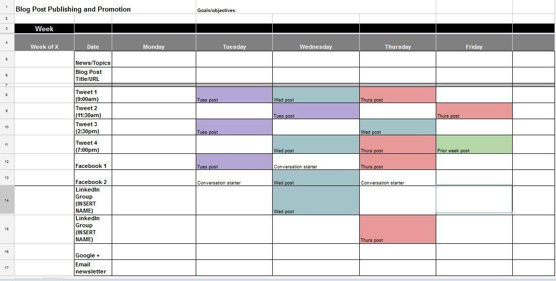 soloPRPro social media calendar template